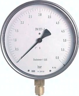 Feinmessmanometer senkrecht Ø 160 mm Chromnickelstahl/Messing, Klasse 0.6
