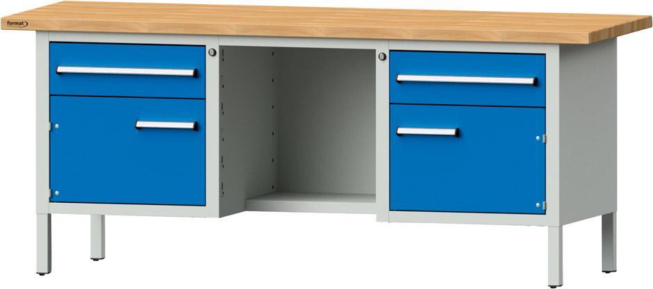 Werkbank, Länge 2000 mm, 2 Schubladen, 2 Türen | TEGRAL
