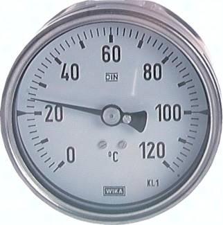 Bimetallthermometer waagerecht ohne Schutzrohr - Chemieausführung, Klasse 1.0