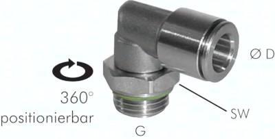 L-Steckverschraubungen mit zylindrischem Gewinde (positionierbar), ES