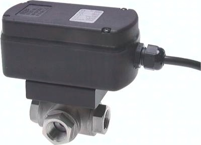 Edelstahl-3-Wege Kugelhähne mit elektrischem Schwenkantrieb (Sanitärausführung), PN 63