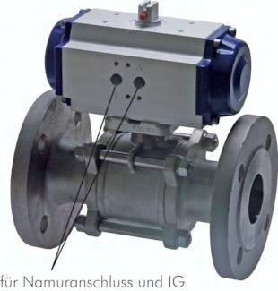 Edelstahl-Flanschkugelhähne 3-teilig, mit pneumatischem Schwenkantrieb, PN 16/40