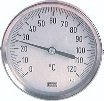 Bimetallthermometer waagerecht ohne Schutzrohr - Industrieausführung, Klasse 1.0