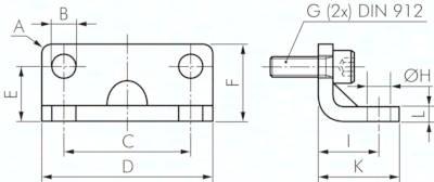 Fußbefestigungen, für Kompaktzylinder