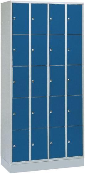 Fächerschrank, Breite 900 mm, lichtgrau/enzianblau