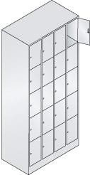 Fächerschrank, Breite 900 mm, lichtgrau/lichtblau