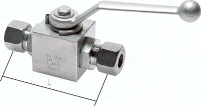 Edelstahl-Hochdruck-Kugelhähne mit Schneidringanschluss DIN 2353, bis 500 bar
