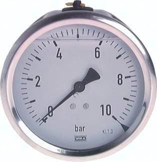 Glycerinmanometer waagerecht Ø 100 mm, Chemieausführung, Klasse 1.0