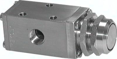 3/2-Wege-Drucktastenventile aus Edelstahl