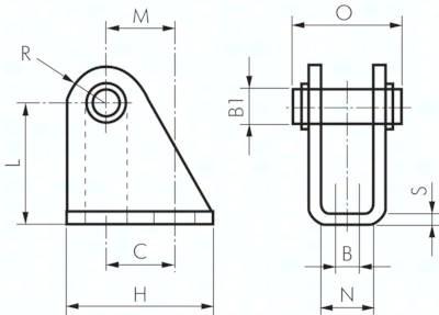 Lagerböcke mit Bolzen, für Kleinzylinder ISO 6432