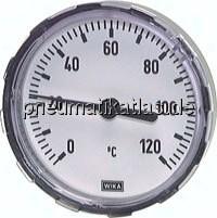 Bimetallthermometer waagerecht mit Kunststoffgehäuse und CU-Schutzrohr, Klasse 2.0