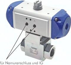 Hochdruck-Kugelhähne mit pneumatischemSchwenkantrieb, bis 500 bar