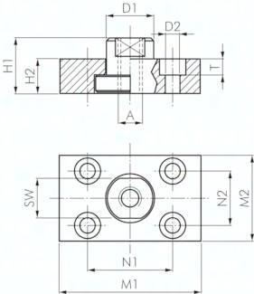 Flexokupplungen mit Befestigungsplatte, für Zylinder ISO 15552